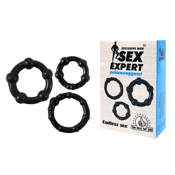 SEM-55002 Кольцо эрекционное набор 3шт цвет чёрный