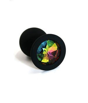 KL-S008M Анальная пробка черная из силикона rainbow