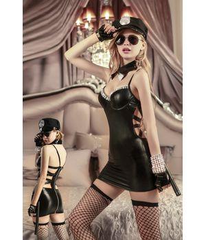 9912 Костюм Полиция (платье, чулки, фуражка, перчатки,очки, дубинка)